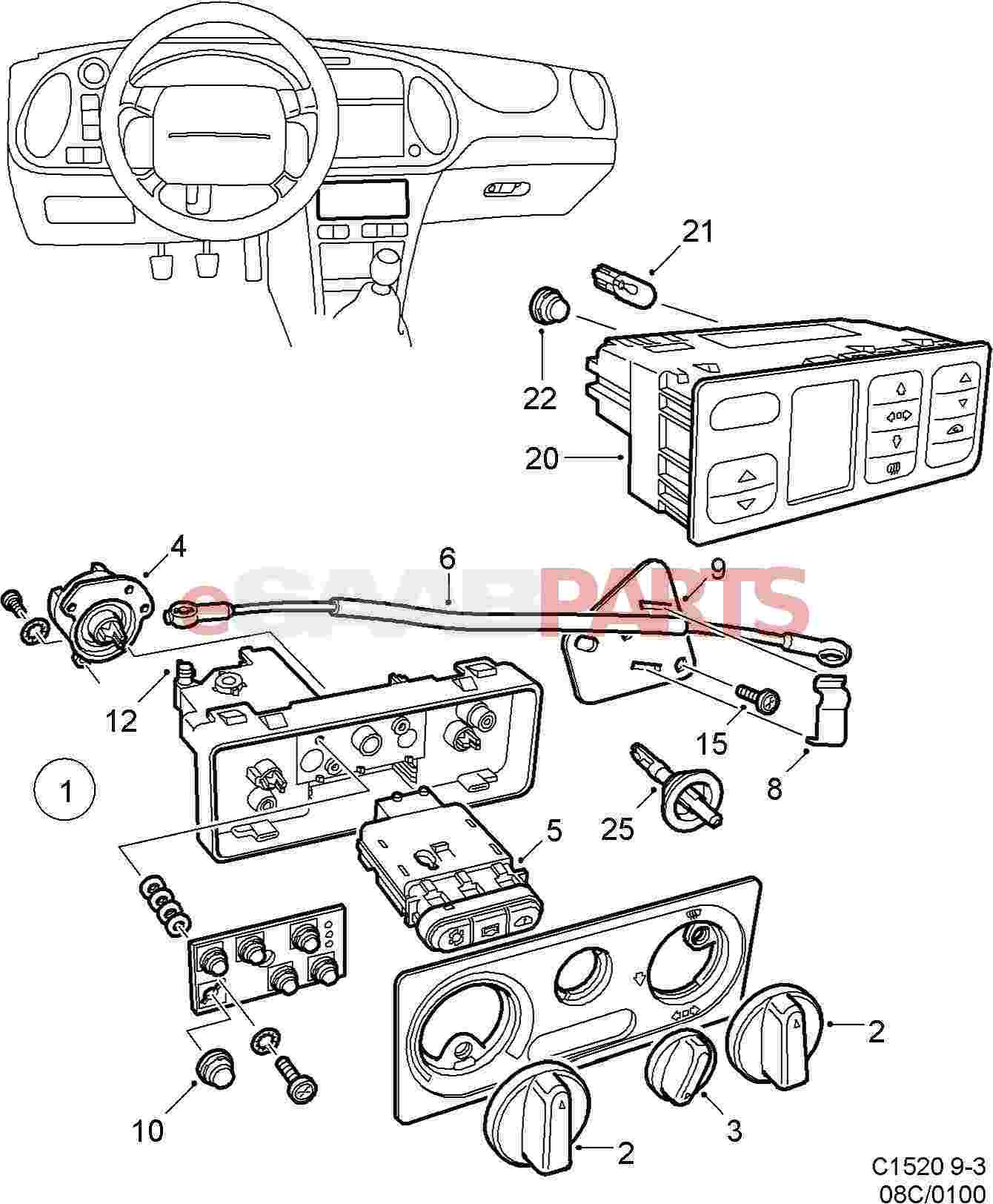 saab 93 heater core diagram