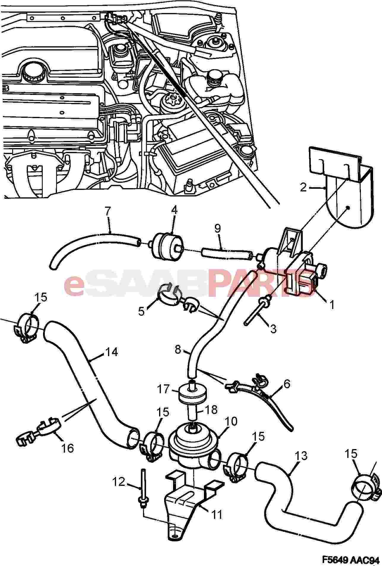 90466214  saab secondary air injection control valve