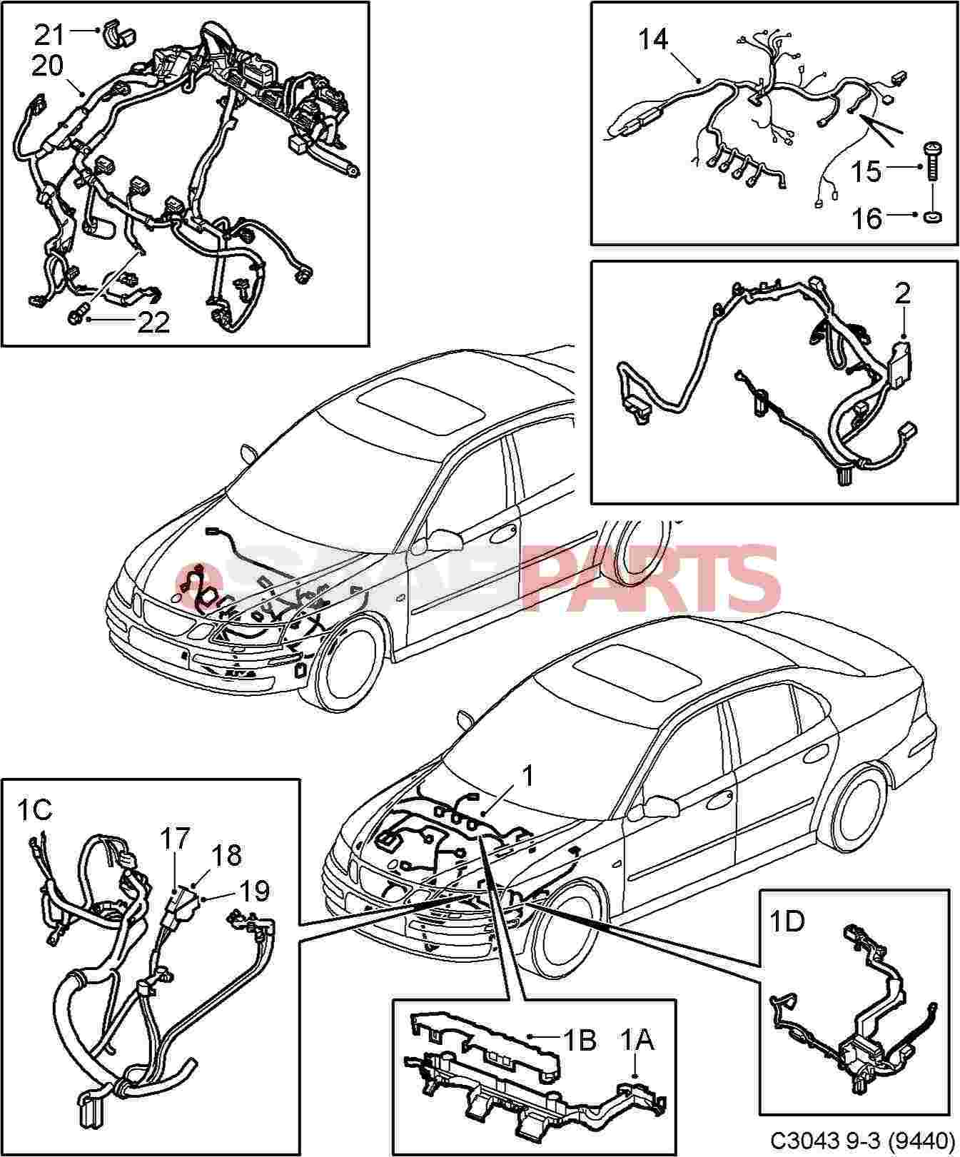12821556  saab engine wiring harness