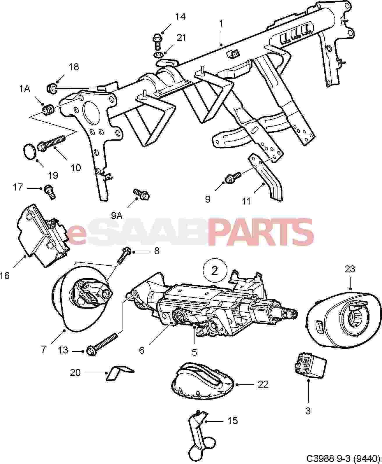 Saab 9 3 9440 Steering Parts Column 2006 Wiring Schematic