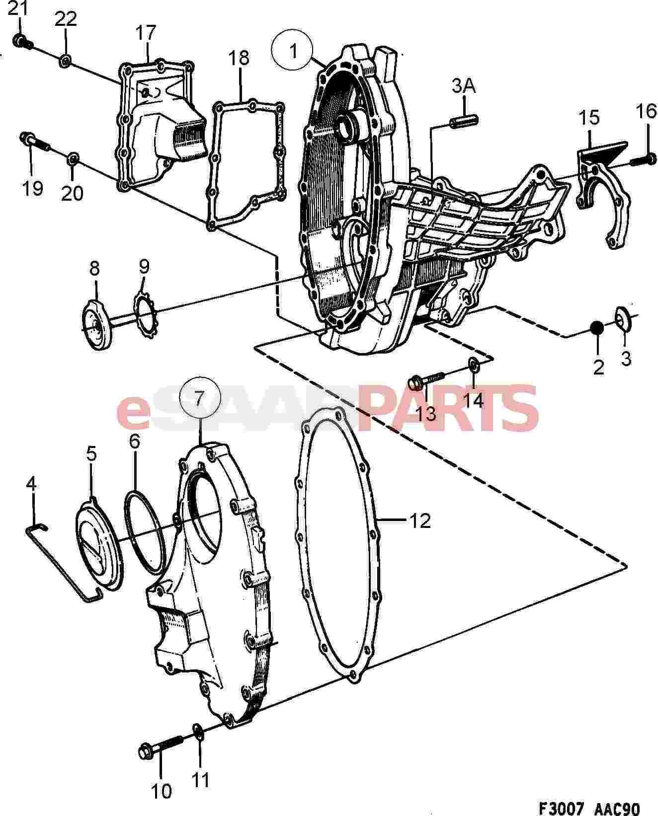Saab 900 Transmission Parts Manual Bicycle Brake Diagram Primary Gear Case