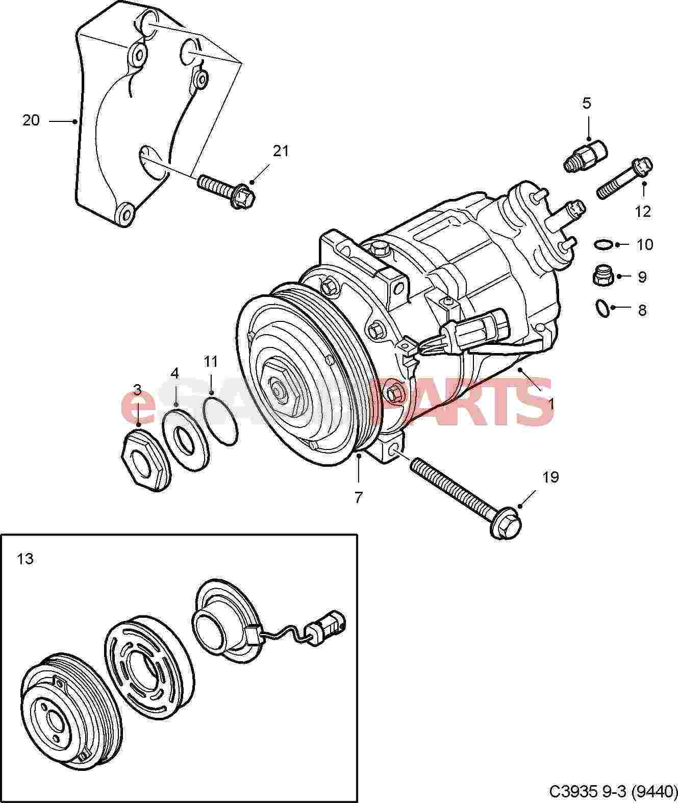 Saab 9 5 Ac Diagram Wiring Data Schema Towbar 93185794 Clutch Compressor B284 Genuine Parts From Rh Esaabparts Com Free