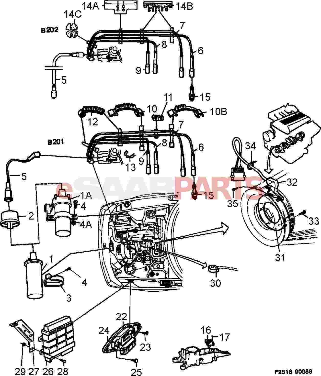saab 900 engine and transmission diagram