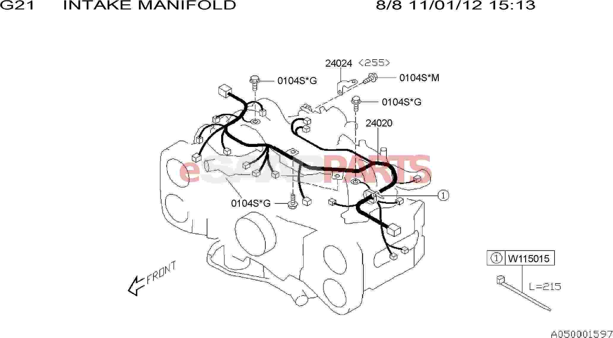 esaabparts com - saab 9-2x > electrical parts > wiring harness > intake  manifold: engine wiring harness