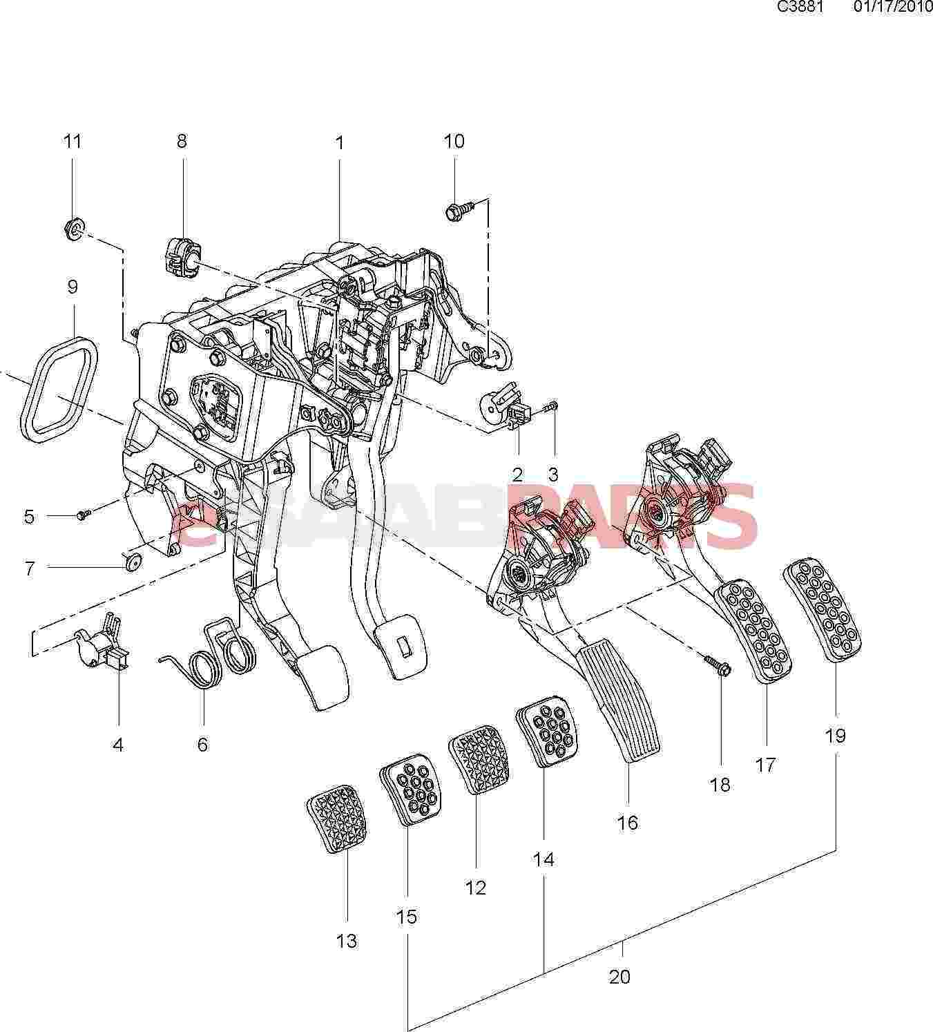 Saab Brakes Diagram Reinvent Your Wiring Brake Caliper Esaabparts Com 9 5 650 U003e Parts Pedal Assembly Rh Rear