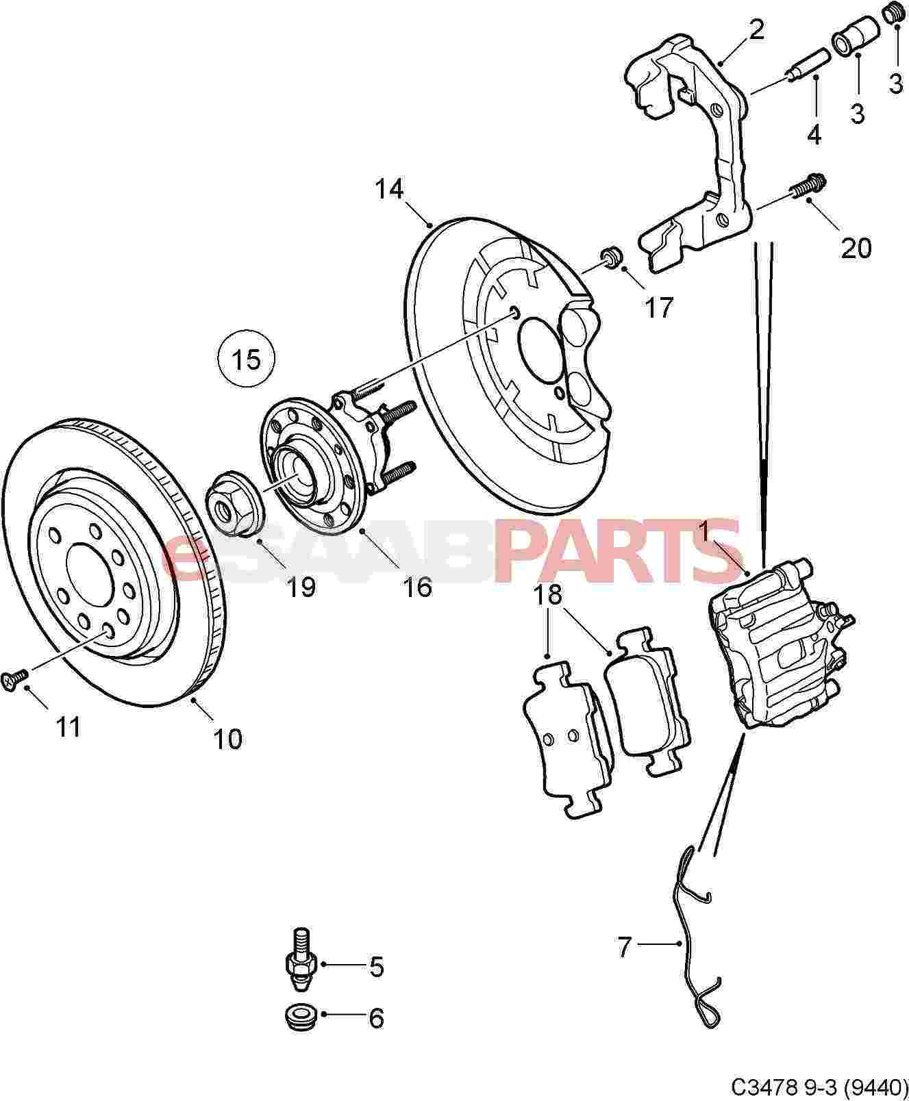 93172185] saab brake caliper right rear 292mm brakes genuineSaab Brakes Diagram #10