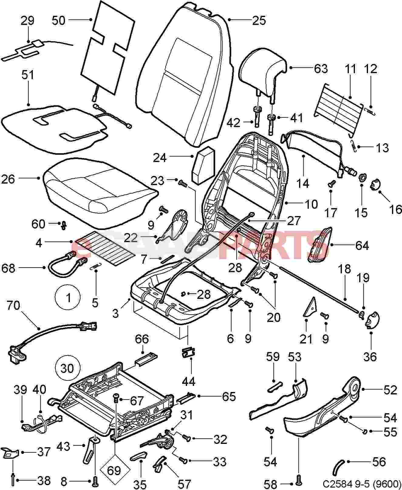 eSaabParts.com - Saab 9-5 (9600) > Car Body: Internal Parts > Seat  Assembly: Front > Manual Front Seats