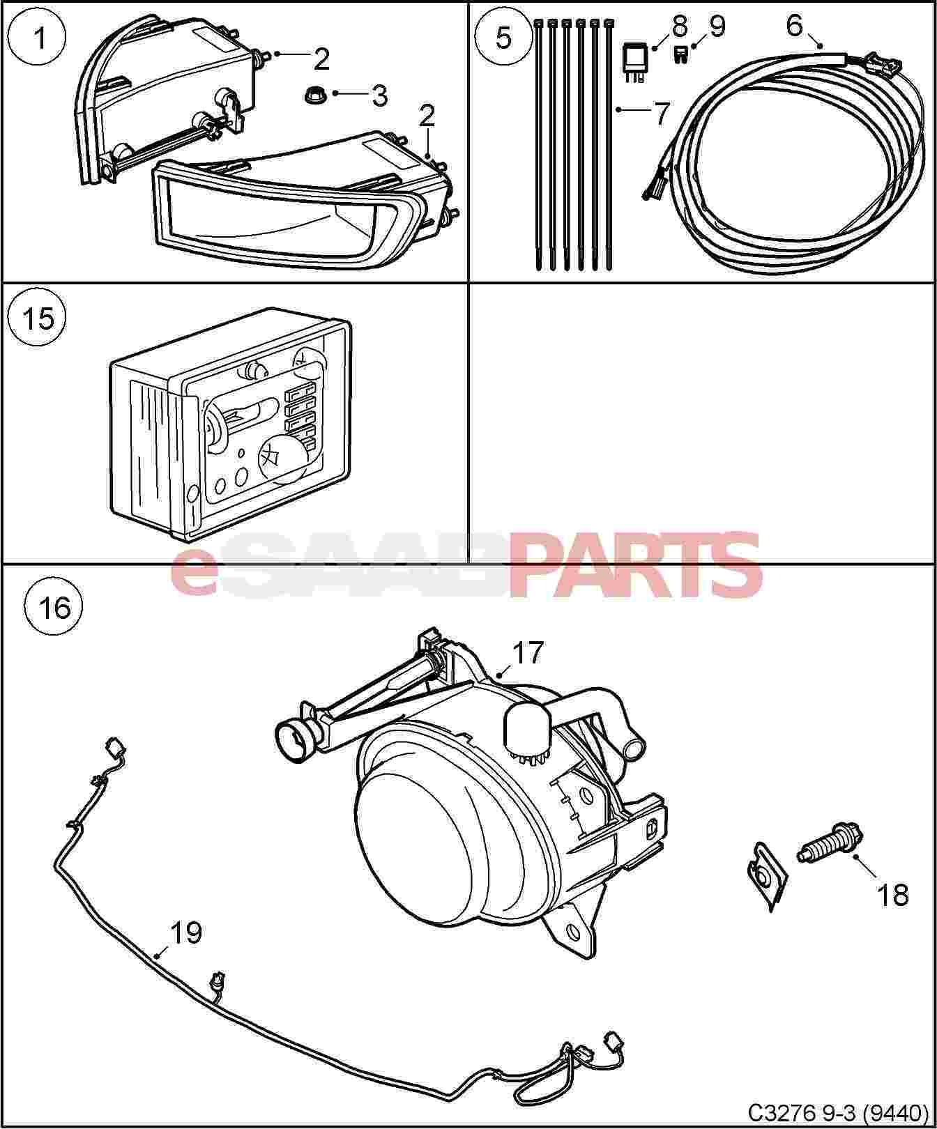 Saab 9 3 9440 Accessories Fluids Parts Wiring Diagram For Light Kit Lighting Fog Lights