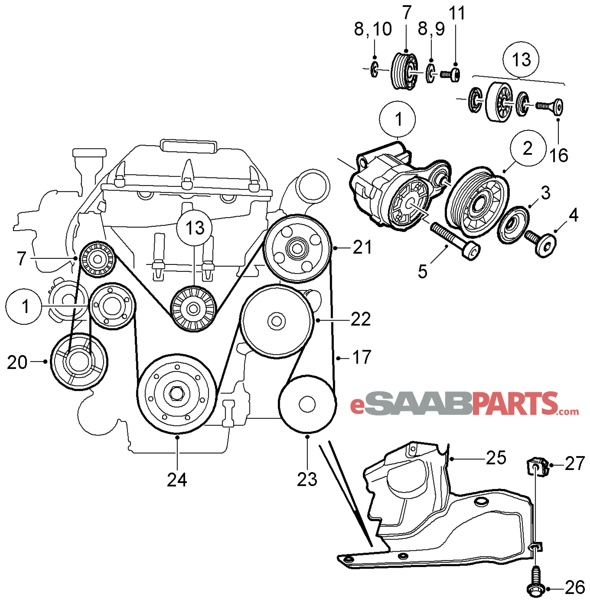layout for 2003 saab 9 3 fuse box belt diagram for a 2003 saab 9 3 [4898755] saab belt tensioner - genuine saab parts from ...