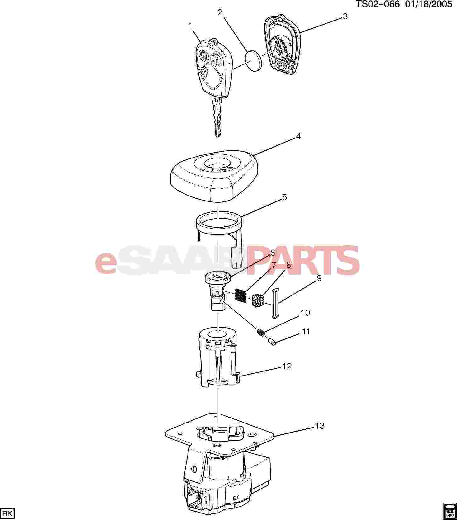 esaabparts com - saab 9-7x > electrical parts > ignition components > key &  lock cylinders/ignition
