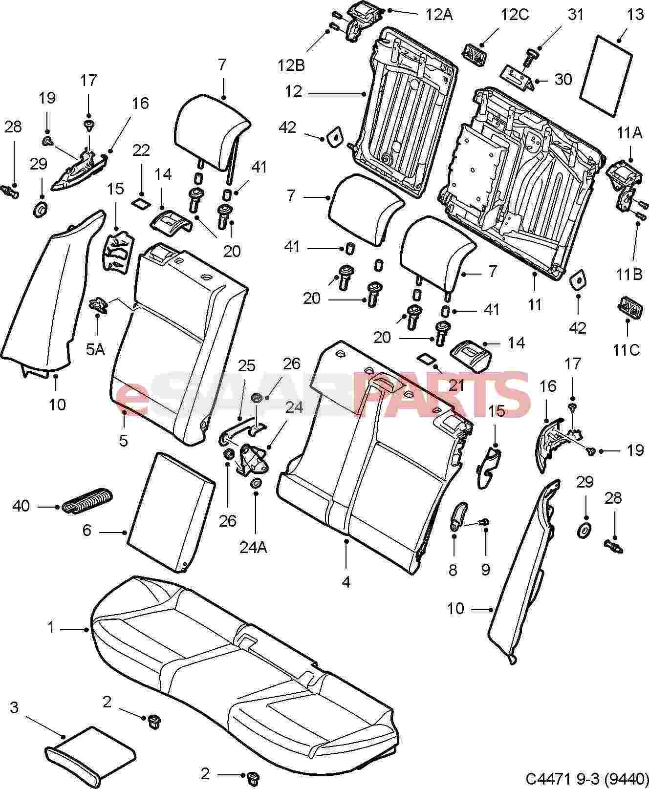 Schematics Of A Car Seat : Saab head restraint genuine parts from