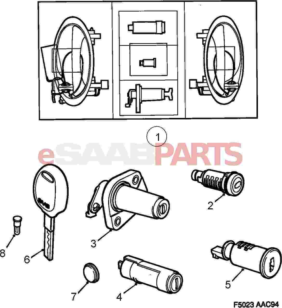 8960221  saab lock cylinder