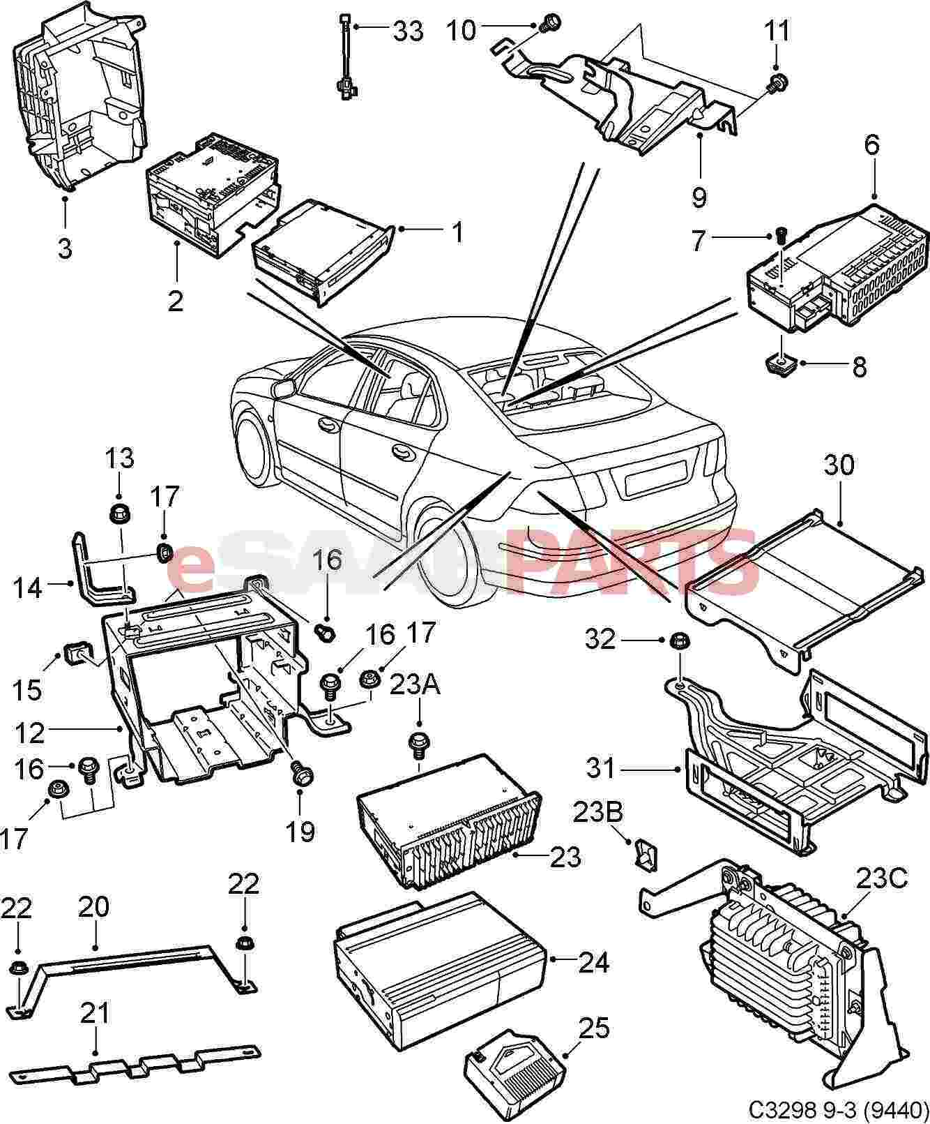 72752 esaabparts com saab 9 3 (9440) \u003e electrical parts \u003e radio Wiring Diagram 2003 Saab 9-3 Convertible at soozxer.org