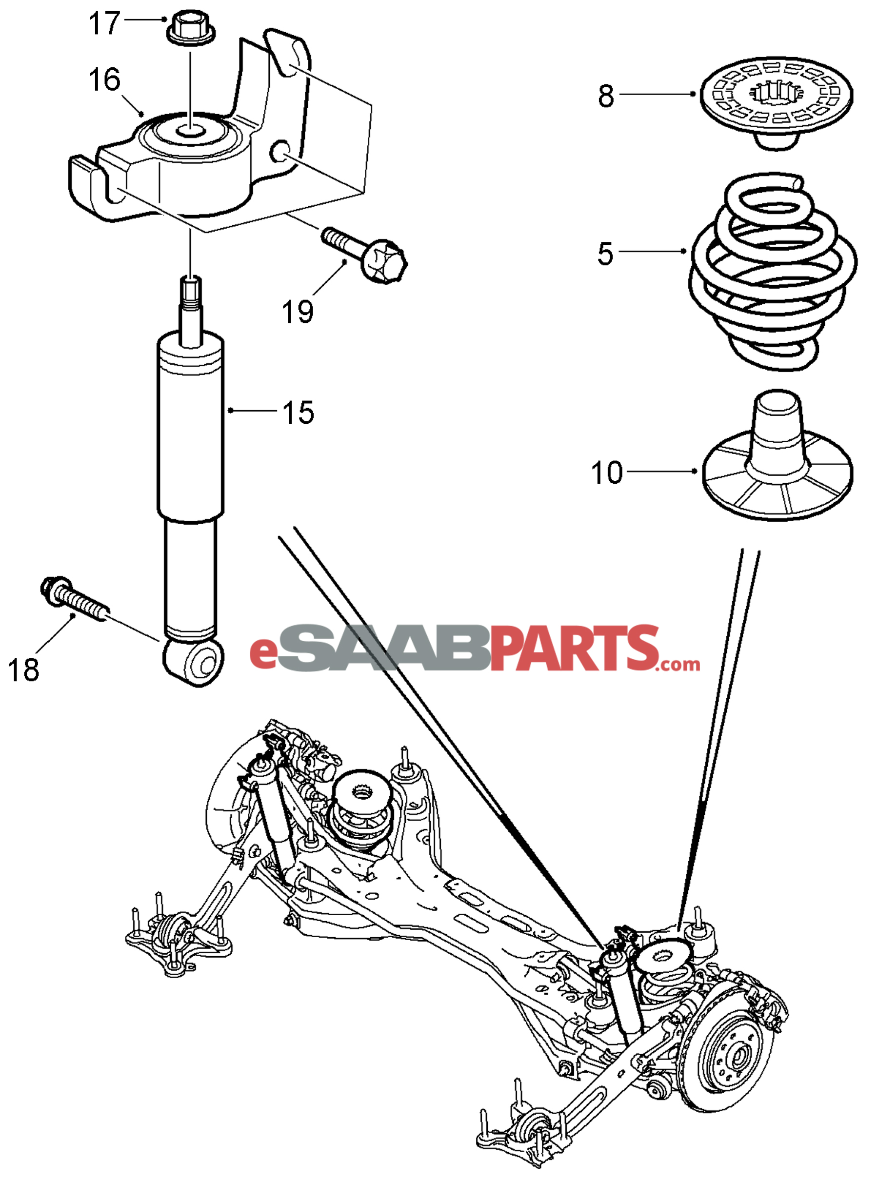 12802494 saab bump stop rear lower fwd genuine saab parts rh esaabparts com saab 93 suspension diagram saab 93 front suspension diagram