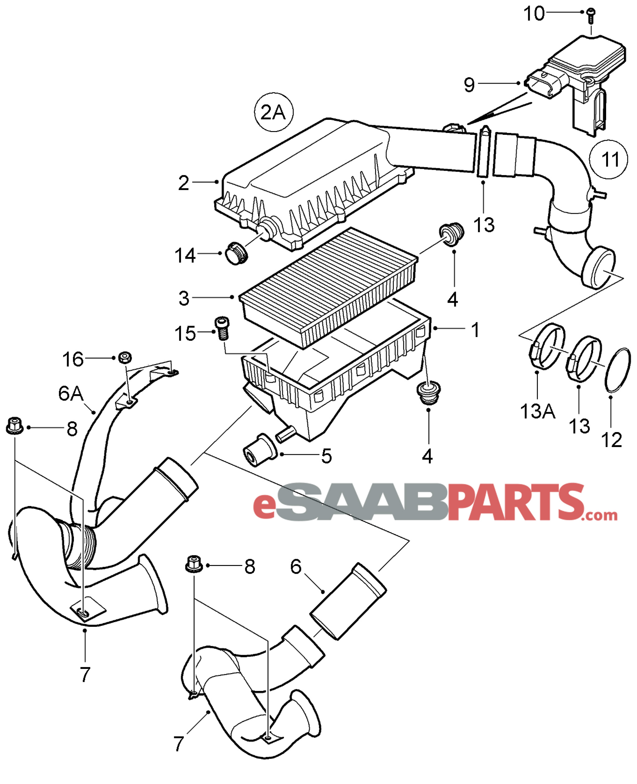 32016011 saab air intake hose 2003 genuine saab parts from rh esaabparts com saab parts diagram 9-5 saab 900 parts diagram