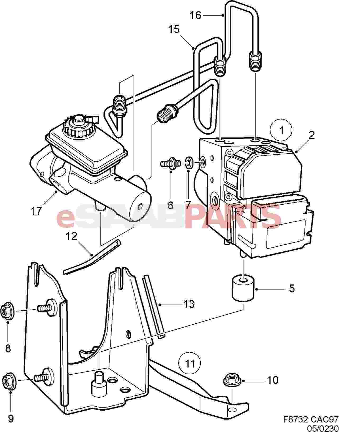 eSaabParts.com - Saab 9-5 (9600) > Brakes Parts > Hydraulic Braking System  > Hydraulic Braking System (1999-2001)