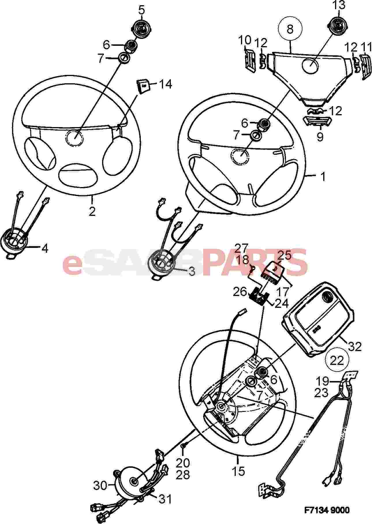 4003380  saab horn button