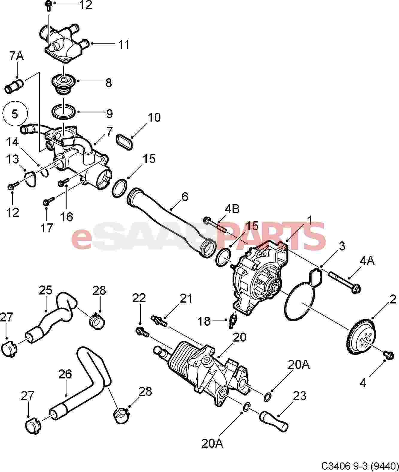 Saab 9 3 9440 Engine Parts Water Pump Diagrams Thermostat B207