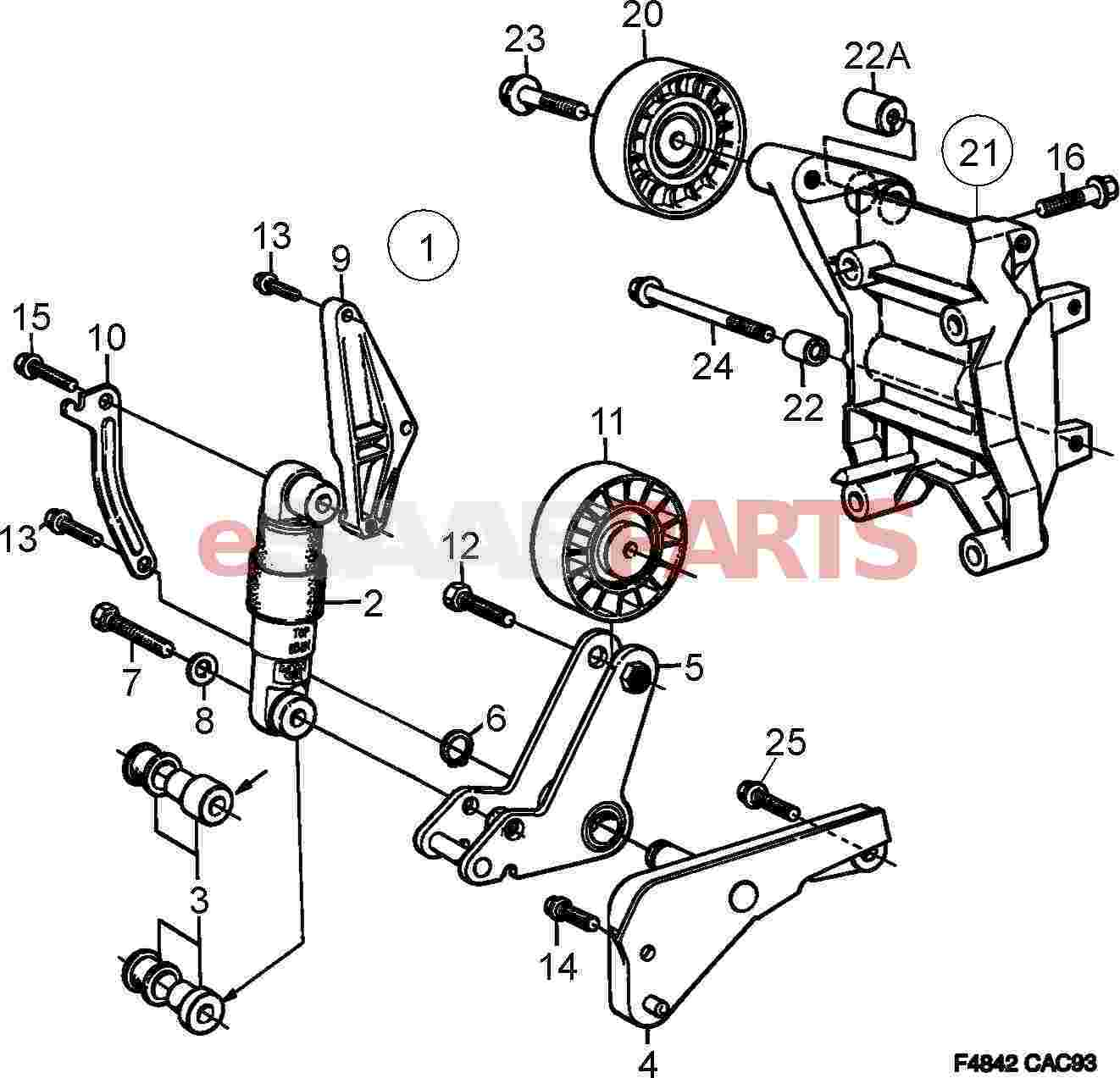 4901419  Saab Serpentine Belt Tensioner Shock - B234 9000