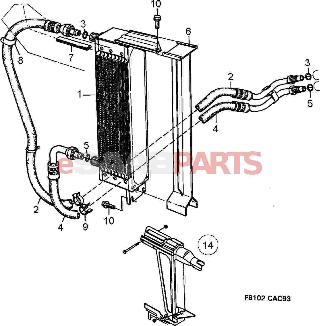 4725867 saab oil cooler genuine saab parts from esaabparts com rh esaabparts com 1990 Saab 9000 Engine Pontiac Sunbird Engine Diagram