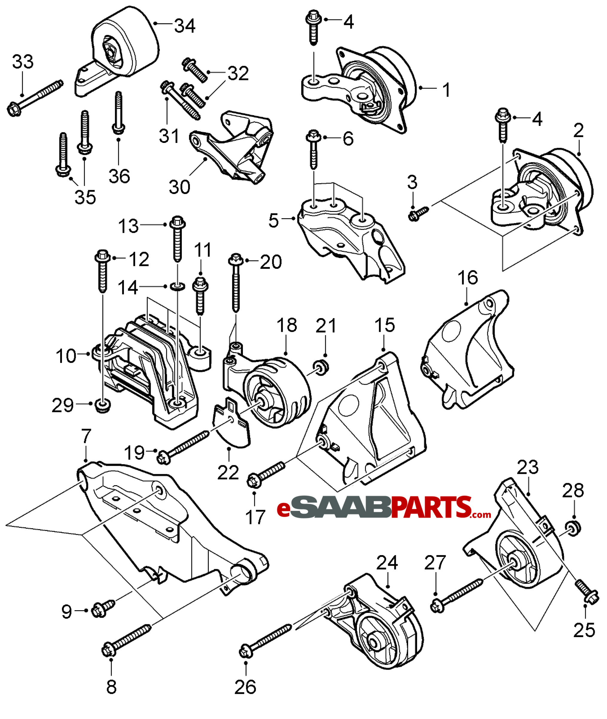 13191542 saab engine mount lh hydro bushing automatic rh esaabparts com 2003 Saab 9 3 Timing Diagram 1993 Saab 900 Engine Diagram