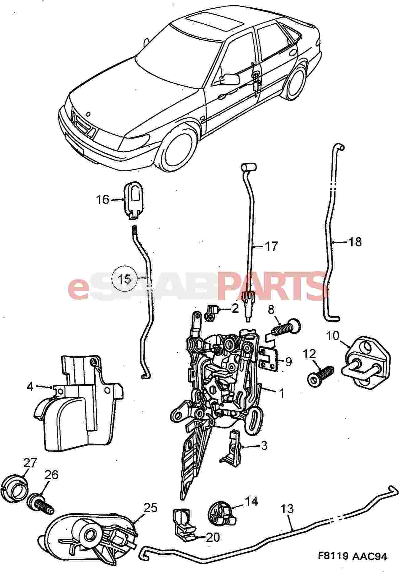 4858577  saab door lock
