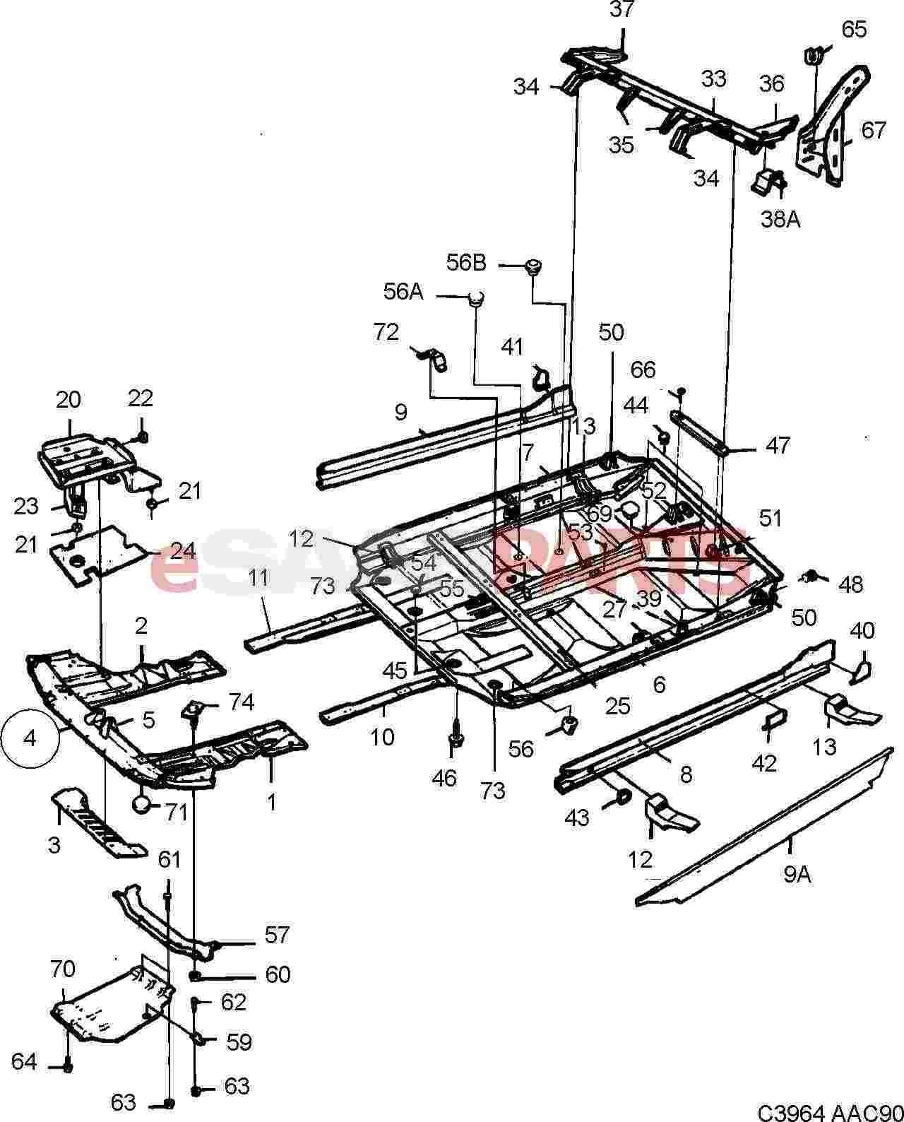 esaabparts com saab 900 u003e car body external parts u003e body parts rh esaabparts com saab 900 parts list Saab 900 Classic