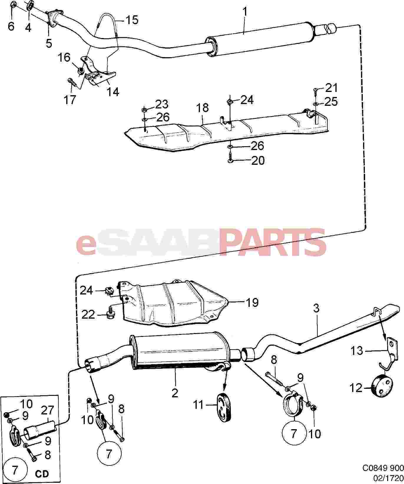 5466990  saab exhaust pipe