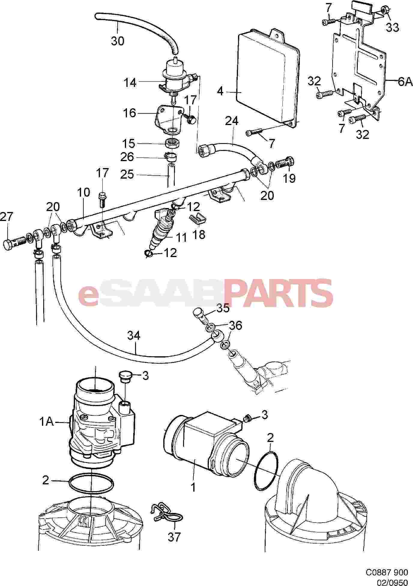 7538655  saab mass air flow sensor