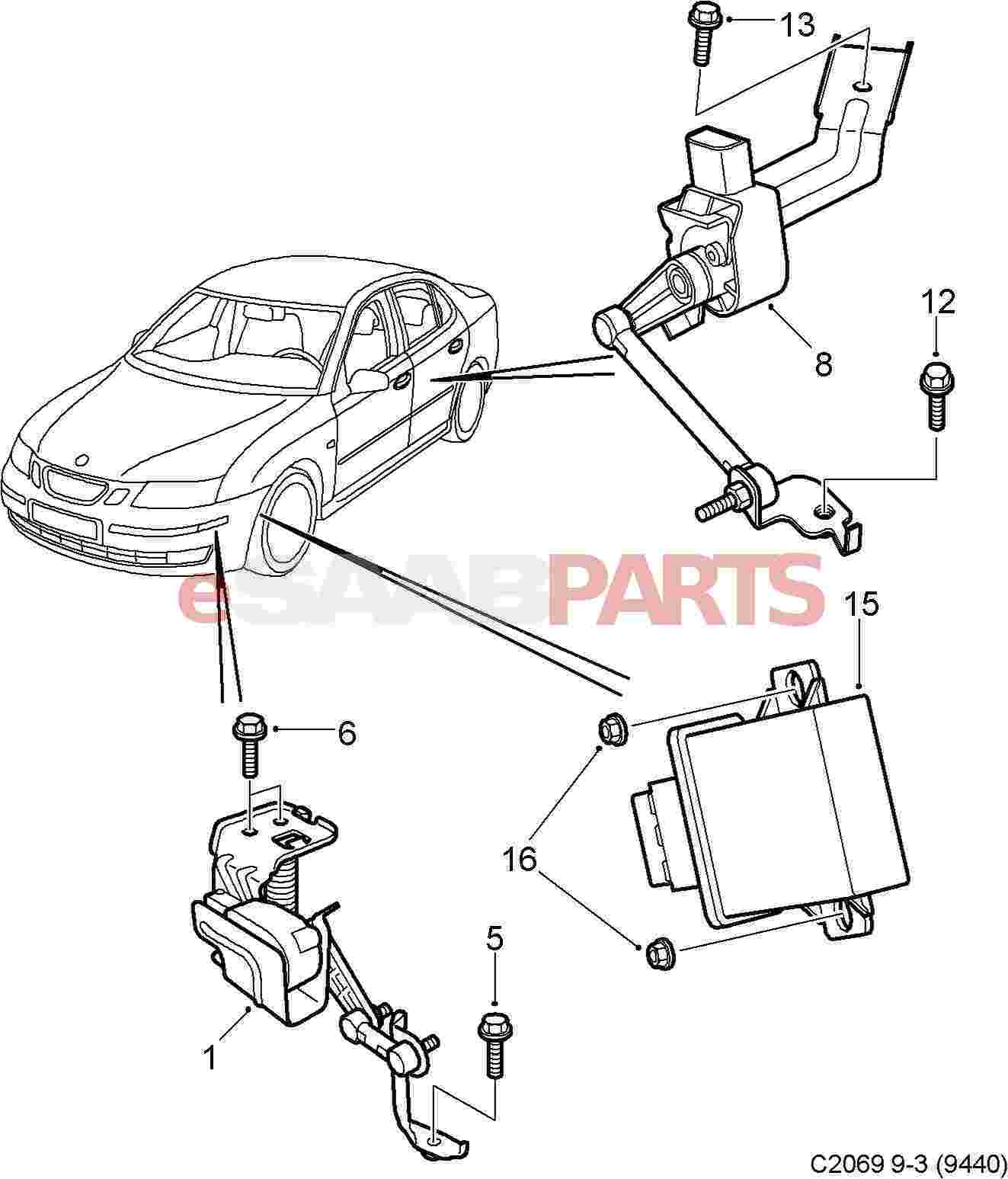 eSaabParts.com - Saab 9-3 (9440) > Electrical Parts > Headlights > Leveling  Sensors - Headlight