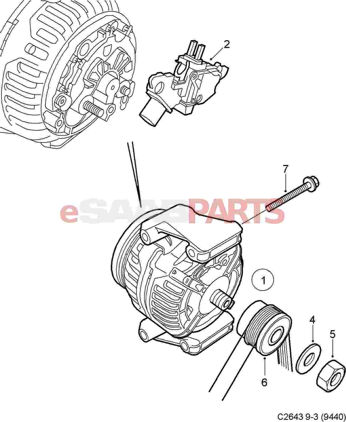 80756 esaabparts com saab 9 3 (9440) \u003e electrical parts \u003e alternator
