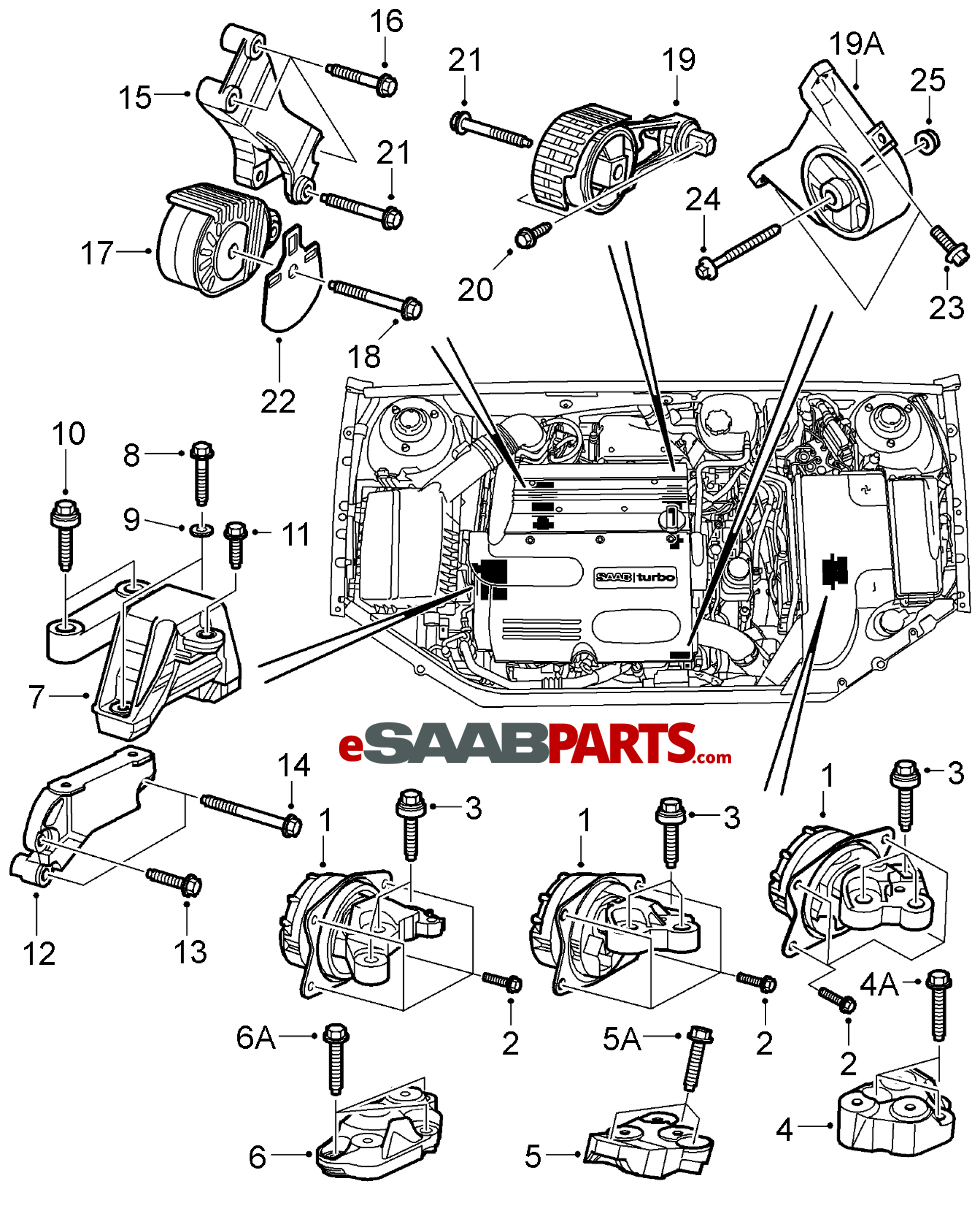 eSaabParts.com - Saab 9-3 (9440) > Engine Parts > Engine Mounts > Engine &  Transmission Mounts (B207)eSaabParts.com