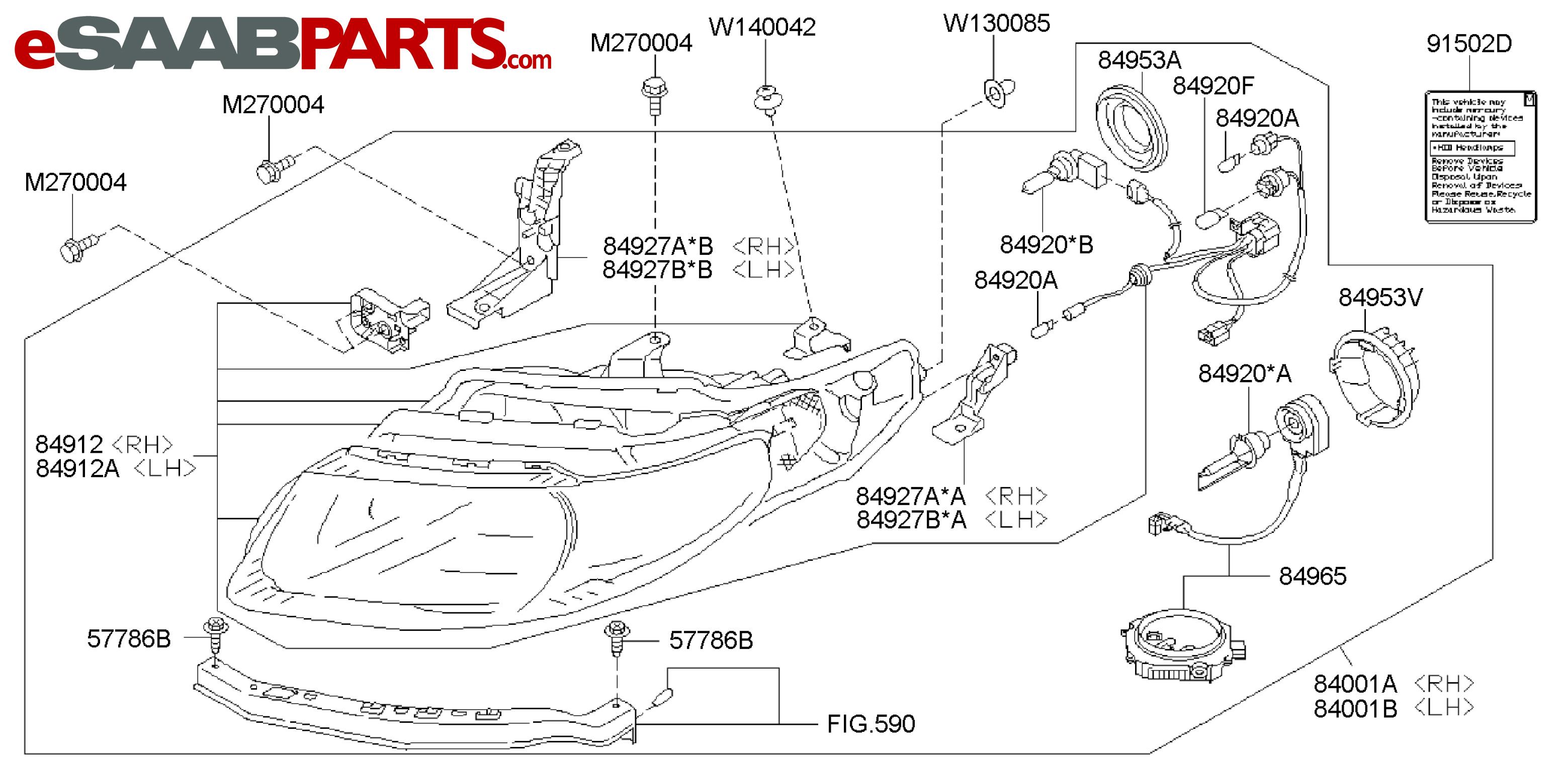 eSaabParts.com - Saab 9-2x > Electrical Parts > Lights & Related > HEAD  LAMP: HID