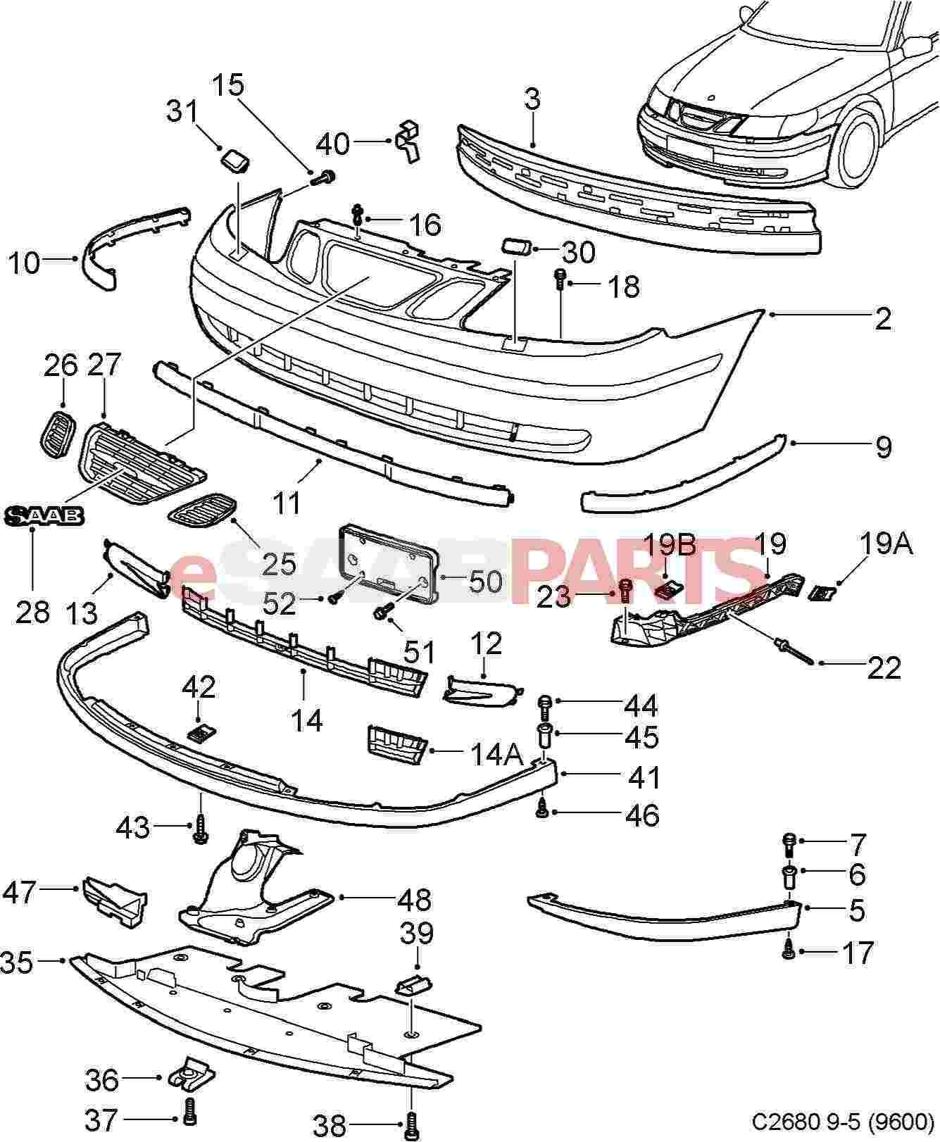 32016136 saab front bumper cover w headlamp washers. Black Bedroom Furniture Sets. Home Design Ideas