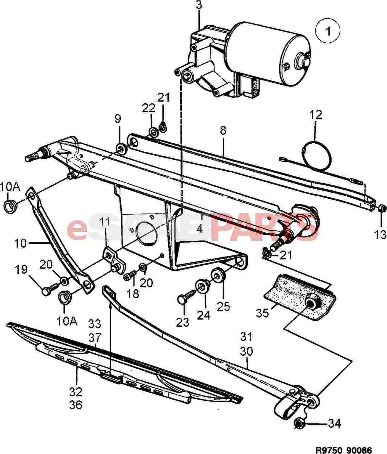 Saab 900 Electrical Parts Wipers Related Wiring Diagram 1989 Windshield Wiper