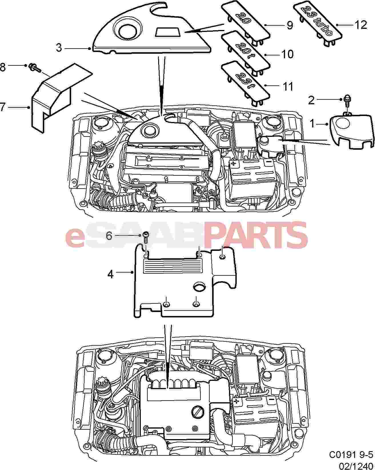 5956958 saab engine cover genuine saab parts from esaabparts com diagram image 3