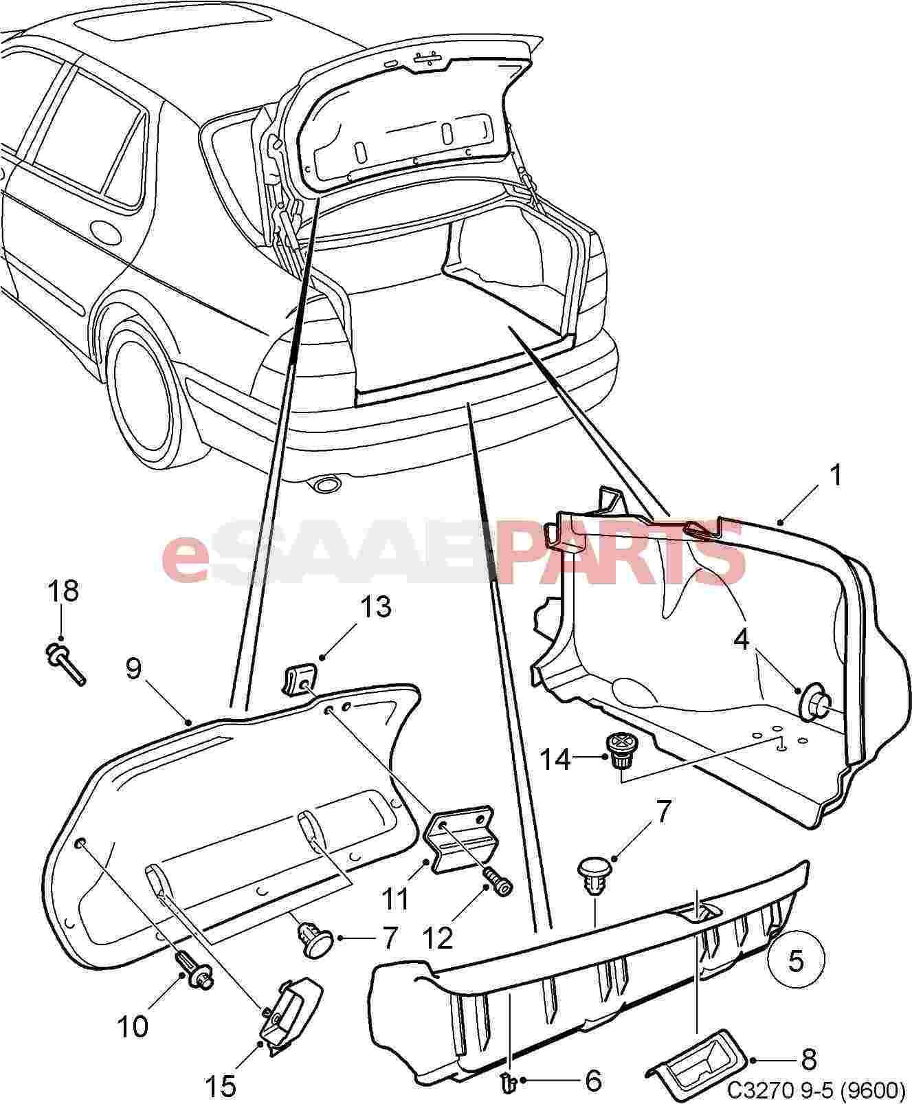 Esaabparts Com Saab 9 5 9600 Car Body External Parts Trunk