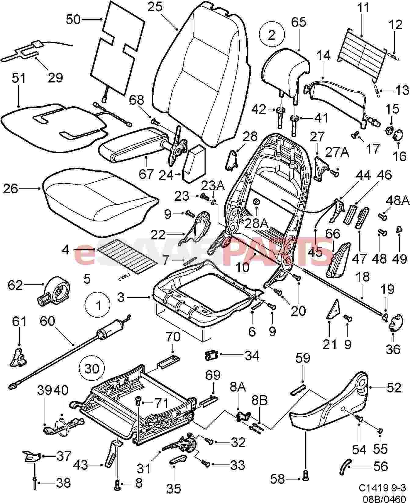 saab 9 3 parts diagram interior html