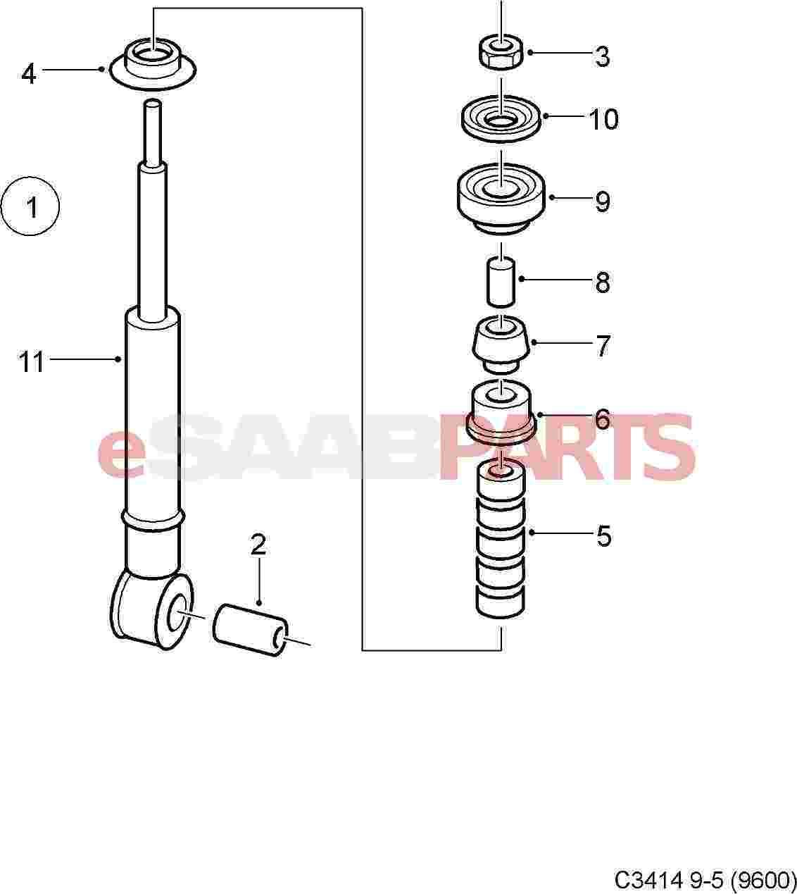 12765951  saab rear shock absorber