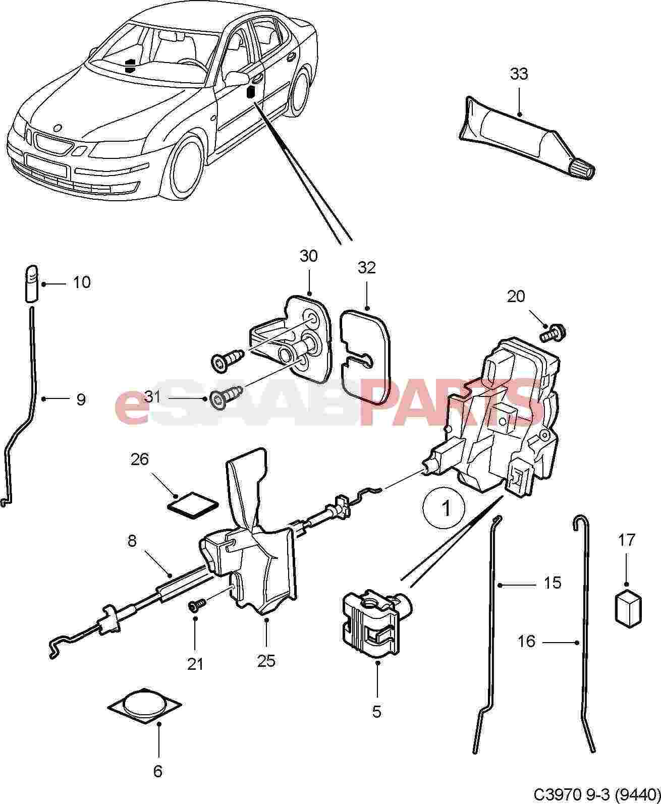 12785564 saab door handle cable front 4d 5d genuine saab rh esaabparts com Saab 900 Engine Diagram 1999 Saab 9 3 Amplifier Wiring