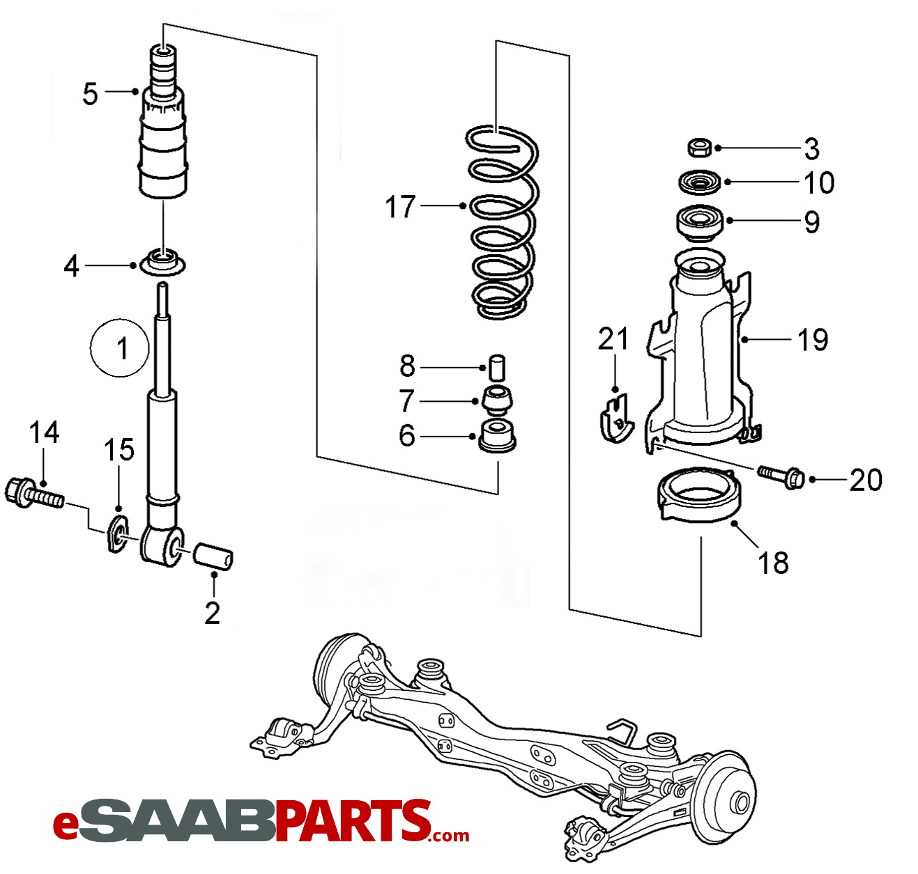 esaabparts com saab 9 5 (9600) \u003e suspension \u0026 wheels parts 2003 saab 9-3 turbo saab 93 air con wiring diagram wiring