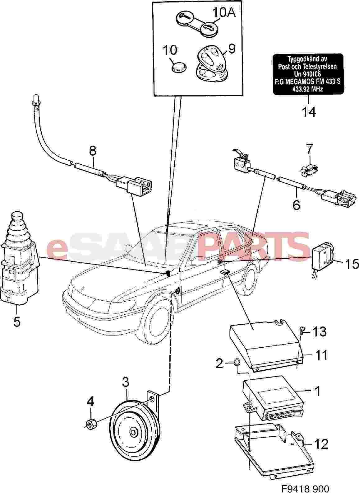 1995 saab 9000 parts diagram