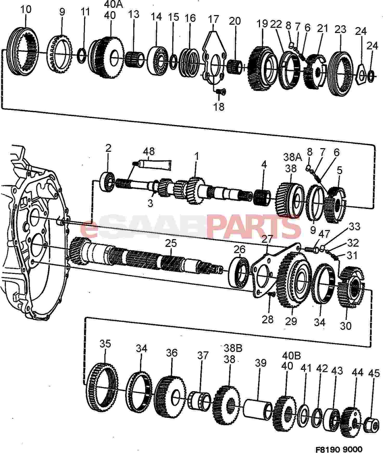 1998 Saab 9000 Manual Transmission Hub Replacement Diagram