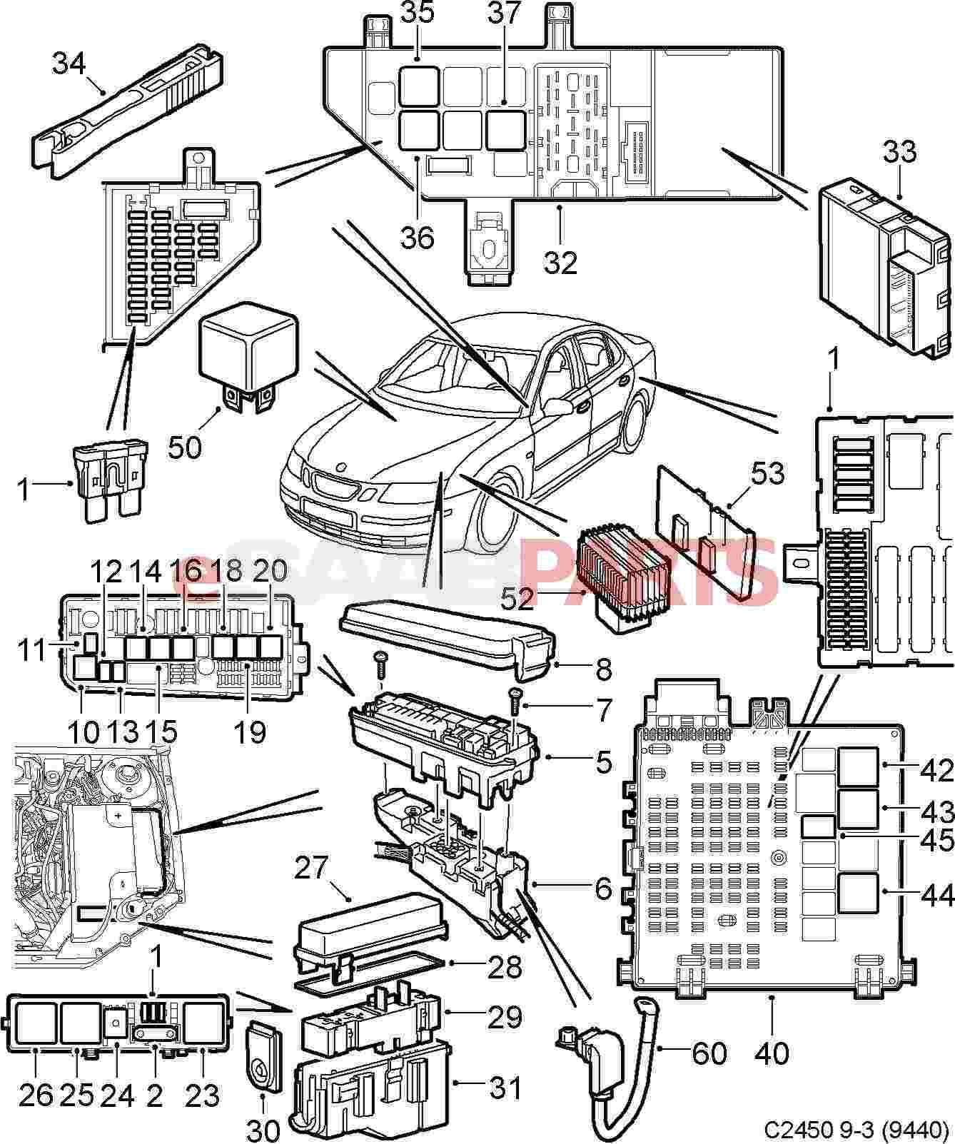 2009 Saab 9 3 Fuse Diagram Wiring Posts 2005 Box Esaabparts Com 9440 U003e Electrical Parts Relays Fuses 2004