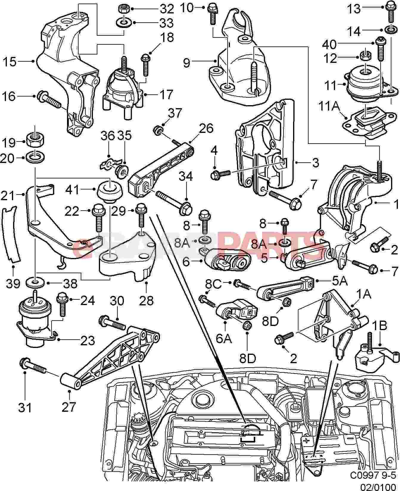 5064050 saab engine bracket genuine saab parts from esaabparts com rh esaabparts com Saab 900 Engine Diagram 1996 Saab 900 Transmission Parts Diagram