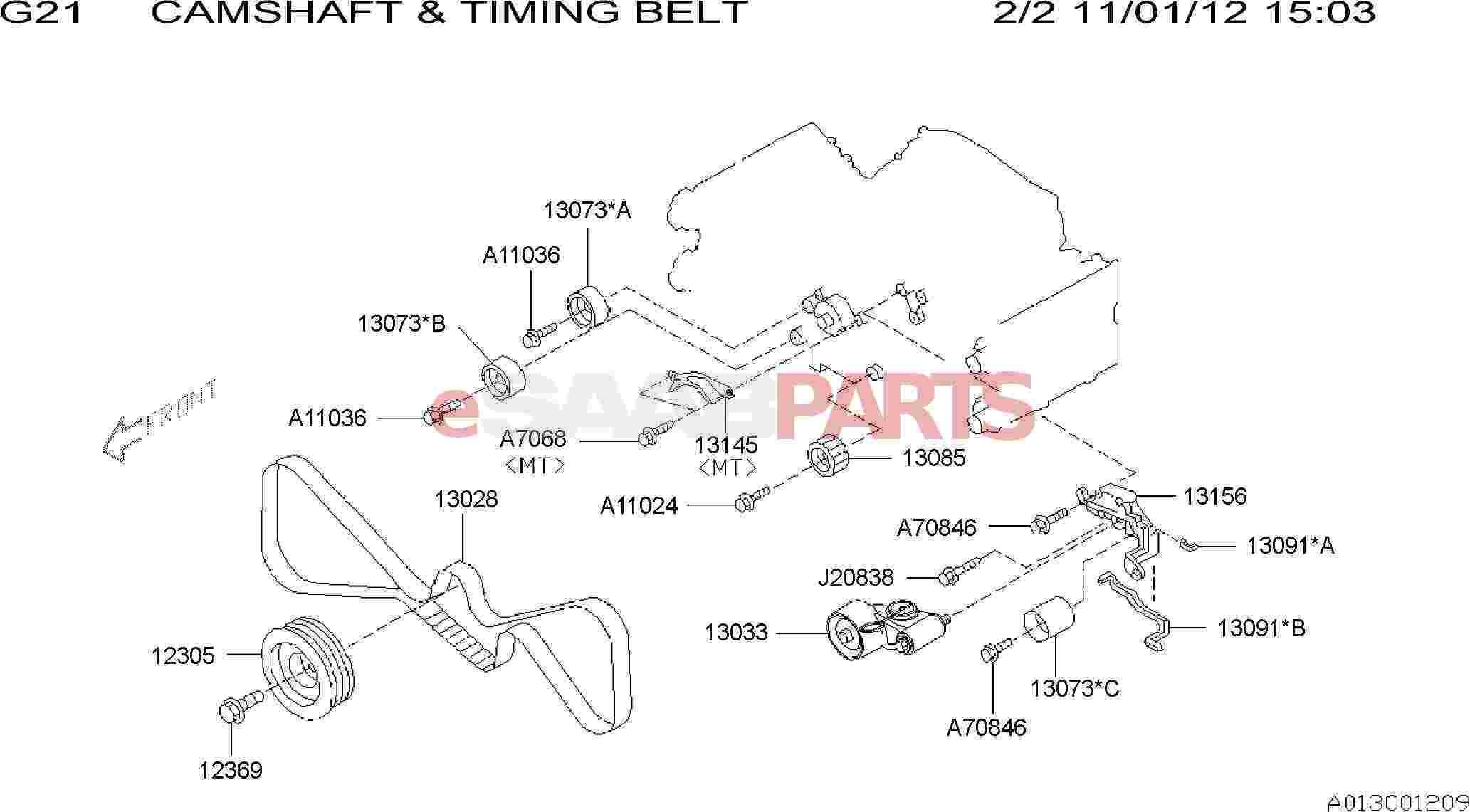 Saab 9 2x Engine Parts Internal Timing Belt Camshaft