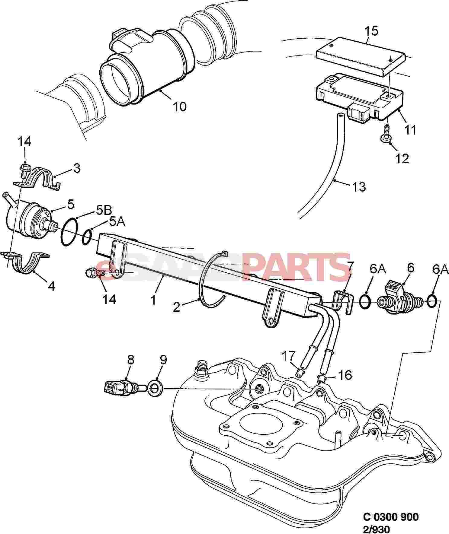 esaabparts com saab 900 u003e engine parts u003e fuel system u003e fuel rail rh esaabparts com saab 900 fuel system diagram 1988 F150 Fuel Rail Diagram