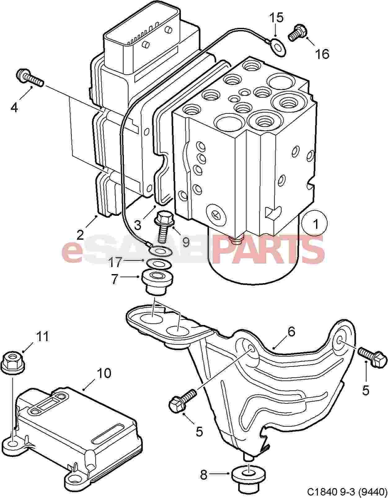 esaabparts com saab 9 3 (9440) \u003e brakes parts \u003e hydraulic braking