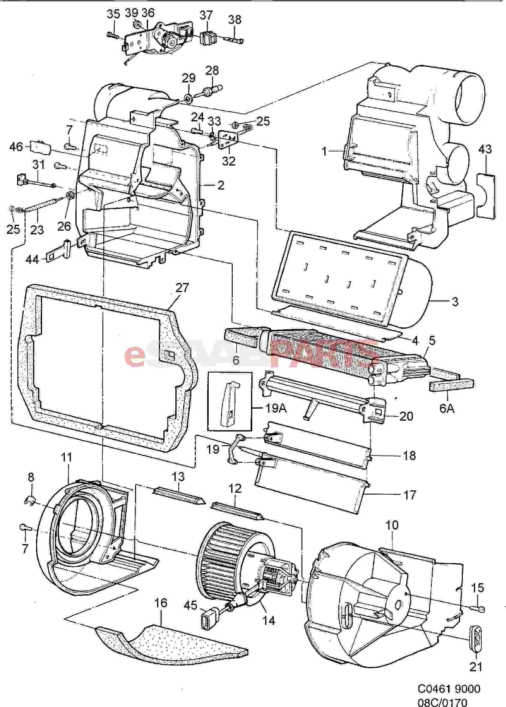 esaabparts com saab 9000 \u003e heating \u0026 air conditioning parts