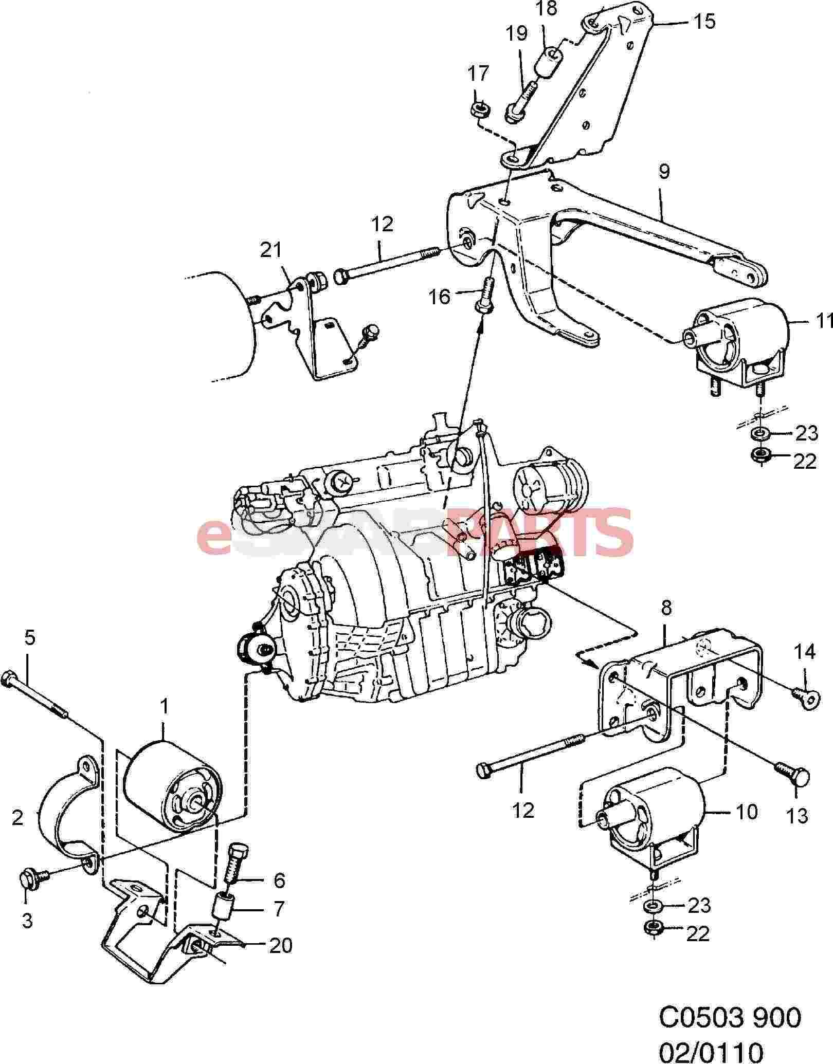 9367996  saab engine mountings